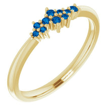 Load image into Gallery viewer, 18K Gold Ceylon Blue Sapphire Cluster Stacking Ring - MiShelli