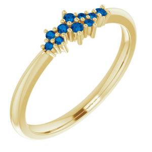 18K Gold Ceylon Blue Sapphire Cluster Stacking Ring - MiShelli