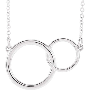Interlocking Circles Necklace Sterling Silver Pendant