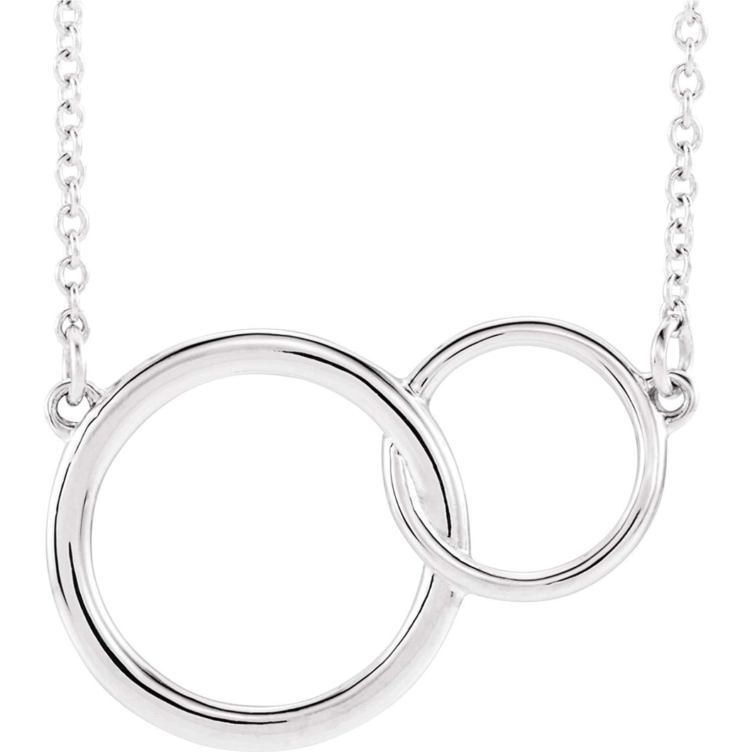 Interlocking Circles Necklace Sterling Silver Pendant - MiShelli