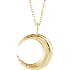 Sterling Silver Crescent Moon Pendant Necklace - MiShelli