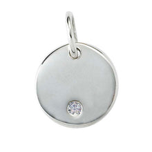 Load image into Gallery viewer, Diamond Disc Necklace, Sterling Silver Layering Pendant, April Birthstone - MiShelli