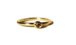 Mini Diamond 18k Yellow Gold Stacking Ring - MiShelli