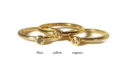 Featured Mini Diamond 18k Yellow Gold Stacking Ring - MiShelli
