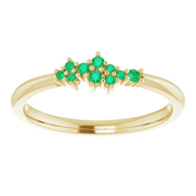 18K Gold Emerald Cluster Stacking Ring - MiShelli