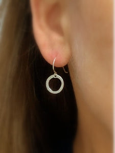 Silver Circle Drop Earrings - MiShelli
