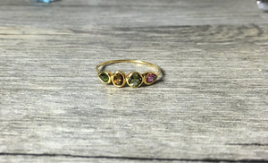 Tourmaline 14K Gold Ring, Colorful Mixed Shapes, Pear, Round, Oval, Low Profile, Anniversary Ring - MiShelli