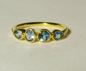 Blue Topaz 14K Rose Gold Gemstone Band, Yellow, White, or Rose Gold, Low Profile, Made to Order - MiShelli