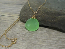 Load image into Gallery viewer, Chalcedony Necklace, Seafoam Green Gemstone Pendant, Gold Fill, Layering Pendant - MiShelli