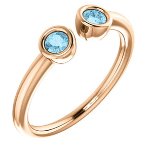 Aquamarine 14K Rose Gold Two Stone Ring, Stacking Ring, March Birthstone Ring, Open Ring - MiShelli