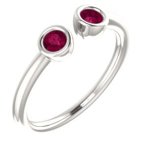 Garnet Dual Stone Ring, Sterling silver, 14K Gold, Stacking Ring, Birthstone Ring - MiShelli
