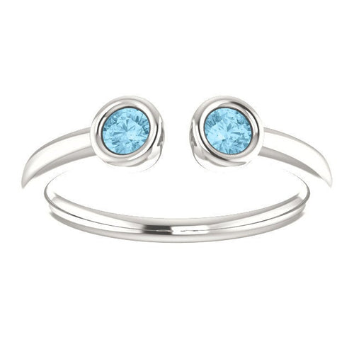 Aquamarine Dual Stone Stacking Ring, 925 Sterling Silver, March Birthstone - MiShelli