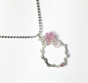 Pink Tourmaline Wire Wrapped Pendant, Sterling Silver Gemstone Necklace - MiShelli