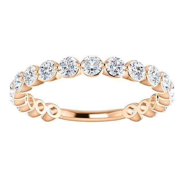 Moissanite Eternity 14K Gold Band,