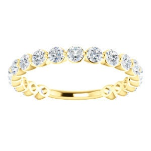 "Moissanite Eternity 14K Gold Band, ""Forever One"" Anniversary Ring, Wedding - MiShelli"