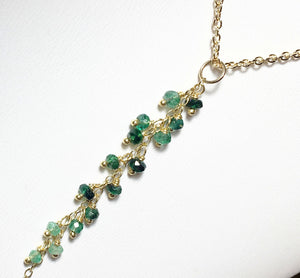 Gold Emerald Necklace, Emerald Tassel Gemstone Pendant, Gold Fill - MiShelli