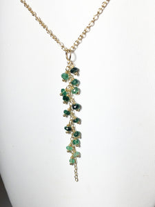 Emerald Necklace, Gold Fill Tassel Pendant - MiShelli