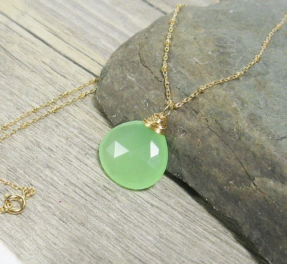 Chalcedony Necklace, Seafoam Green Gemstone Pendant, Gold Fill, Layering Pendant - MiShelli