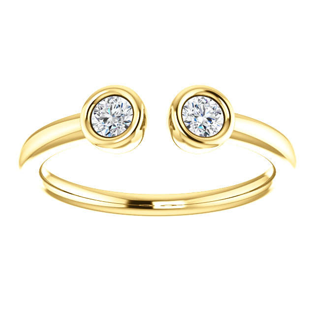 Diamond Ring, Dual Stone 14K Gold Diamond Stacking Ring, April Birthstone - MiShelli