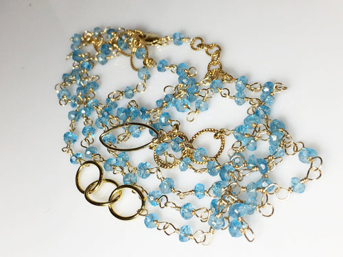 Blue Topaz Bracelet, Layering, Gold Fill, Topaz Layering Necklace 44 inches - MiShelli