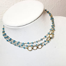 Load image into Gallery viewer, Blue Topaz Bracelet, Layering, Gold Fill, Topaz Layering Necklace 44 inches - MiShelli