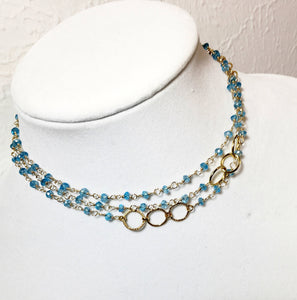 Blue Topaz Long Layering Gold Necklace - MiShelli