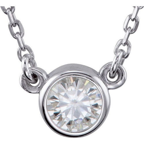 Petite Moissanite Solitaire Necklace, Gemstone Pendant, Sterling Silver - MiShelli