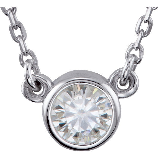 Petite Moissanite Solitaire Necklace - MiShelli