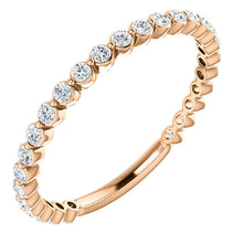 Load image into Gallery viewer, Rose Gold Moissanite Anniversary Band, 14K White, Yellow, Gold, slim, minimalist - MiShelli