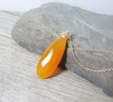 Load image into Gallery viewer, Gemstone solitaire pendant, orange chalcedony gold necklace, elongated, layering pendant - MiShelli