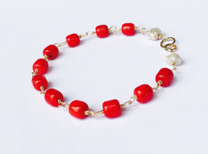 Coral Bracelet SOLID 14K Gold, Red Coral, Freshwater Pearls, Wire Wrapped - MiShelli