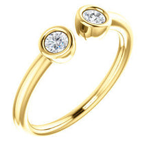 Load image into Gallery viewer, Diamond Ring, Dual Stone 14K Gold Diamond Stacking Ring, April Birthstone - MiShelli