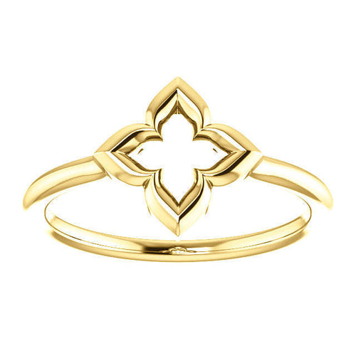 14K Gold Clover Ring, Four-Leaf, Symbolic Jewelry - MiShelli