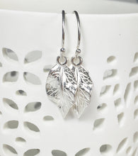 Load image into Gallery viewer, Silver Leaf Earrings, Boho, Fall Jewelry, Sterling Silver Leaves - MiShelli