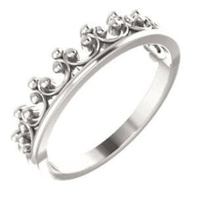 Load image into Gallery viewer, Queen's Crown Stacking Ring, .925 Sterling Silver - MiShelli