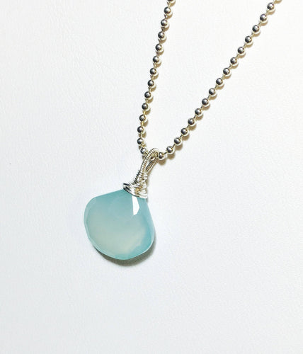 Aqua Chalcedony Pendant, Sterling Silver Solitaire, Briolette Gemstone Pendant, Aqua Blue, Gifts for Her, Gemstone Necklace - MiShelli