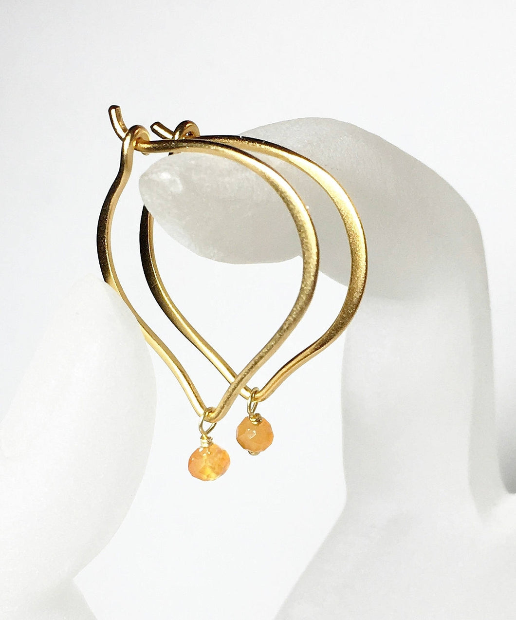 Gold Hoop Earrings, Carnelian Gemstone Lotus Ear Wires, Gifts for Her, Simple Earrings, Everyday Jewelry, Medium or Large - MiShelli