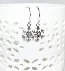 Silver Snowflake Earrings, Sterling Petite Dangles, Snowflake Charms - MiShelli