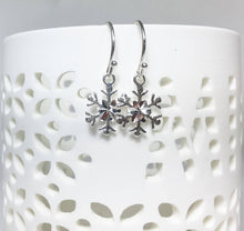 Load image into Gallery viewer, Silver Snowflake Earrings, Sterling Petite Dangles, Snowflake Charms - MiShelli