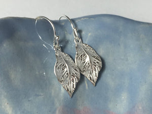 Silver Leaf Earrings, Boho, Fall Jewelry, Sterling Silver Leaves - MiShelli