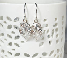 Load image into Gallery viewer, Silver Leaf Dangle Earrings - MiShelli