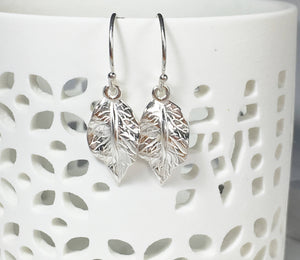 Silver Leaf Dangle Earrings - MiShelli