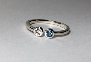 Aquamarine Sapphire Dual Stone Ring Size 6, Double Birthstone, Slim Band, Minimalist, dual stone, stacking, Mother's Ring, Couples Ring - MiShelli