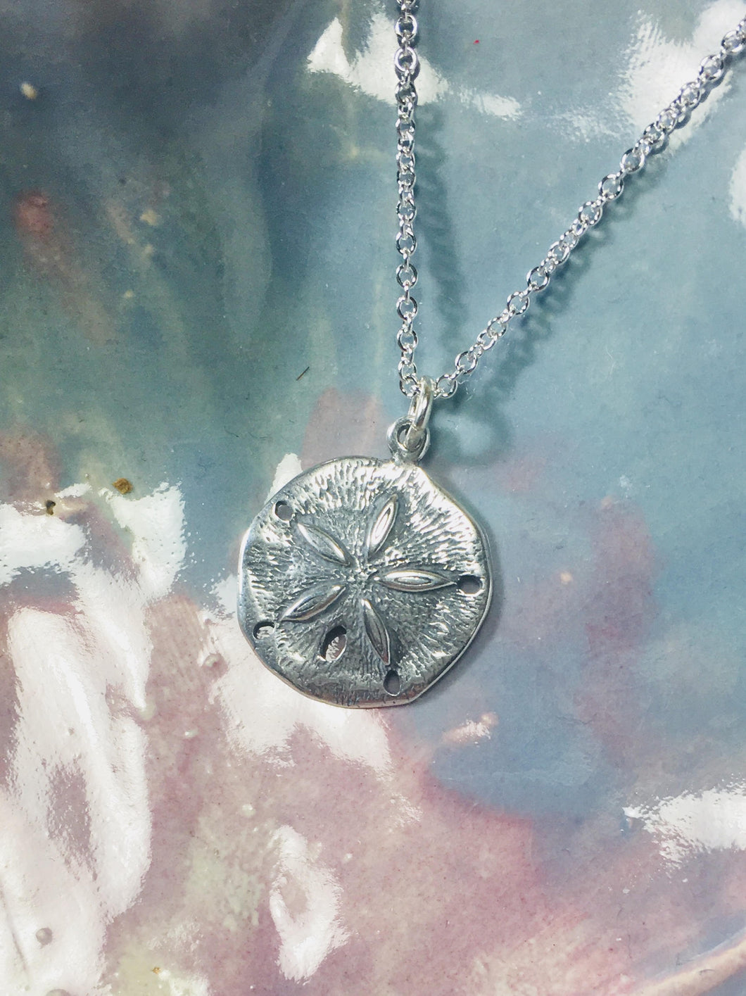 Sand Dollar Necklace 925 Sterling Silver Pendant, Beach Jewelry - MiShelli