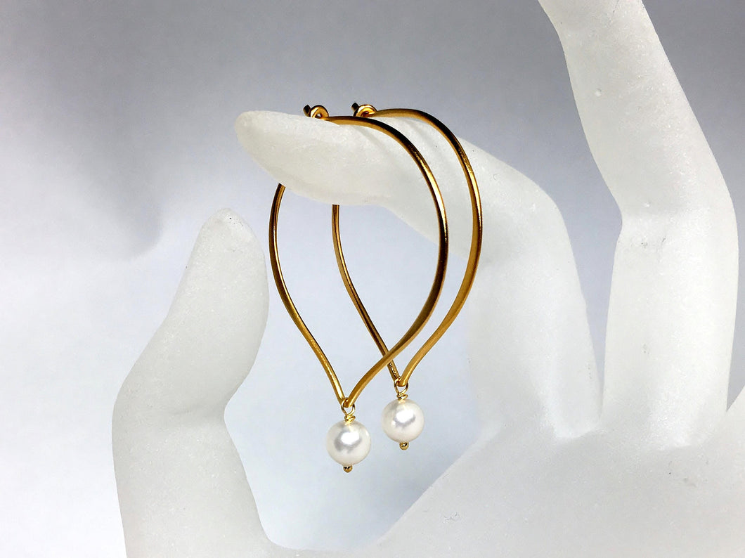 White Pearl Hoop Ear Wires, Vermeil Lotus Petal Earrings , Swarovski Crystal Pearls, Brushed Finish - MiShelli