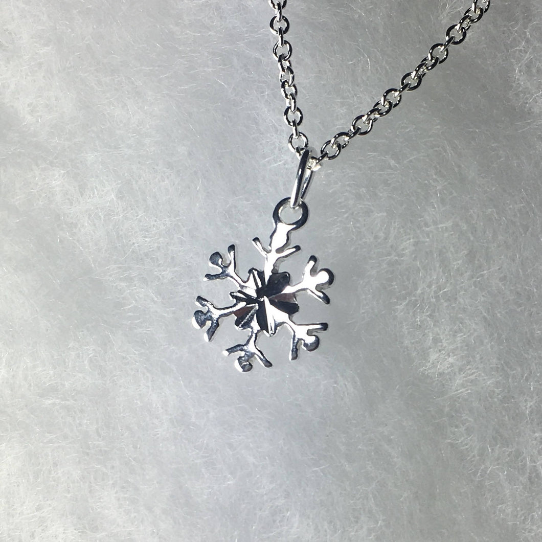 Petite Snowflake Necklace, .925 Sterling Silver Pendant - MiShelli
