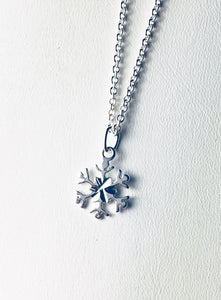 Petite Snowflake Necklace, .925 Sterling Silver Pendant, Gifts for Her, Winter Wonderland, Minimalist - MiShelli