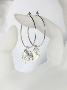 Silver Hoop Ear Wires, .925 Sterling Leaf Dangle Earrings, Hoop Earrings, Gifts for Her, Hoop Earrings, Leaf Charms, Statement Earrings - MiShelli