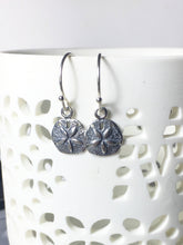 Load image into Gallery viewer, Sand Dollar Charm Earrings, .925 Sterling Silver, Beach Jewelry, Summer Vacation, Petite, Minimalist, Gifts for Her, Ocean, Nature - MiShelli