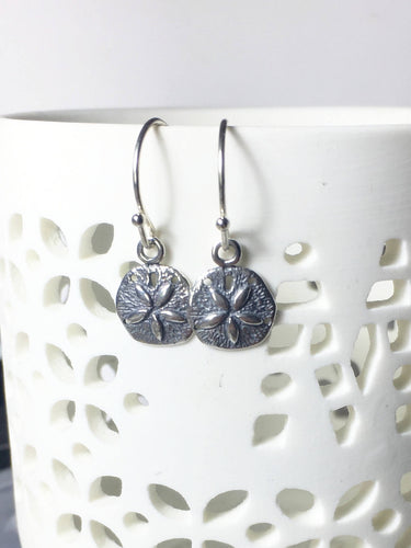 Sand Dollar Charm Earrings, .925 Sterling Silver, Beach Jewelry, Summer Vacation, Petite, Minimalist, Gifts for Her, Ocean, Nature - MiShelli